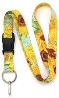 Buttonsmith Van Gogh Sunflowers Premium Lanyard - with Buckle and Flat Ring - Made in The USA: Office Products