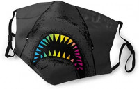 Halloween Rainbow Shark Tooth Art Adult Various Protective Fashion Air Mask | Face Mask | Anti Pollution Dust Mask | Washable And Reusable With Filter M