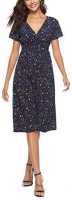 Basoteeuo Womens Dresses Summer Casual V Neck Party Polka Dot Floral Dress Plus Size at Women's Clothing store