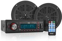 Marine Headunit Receiver Speaker Kit - In-Dash LCD Digital Stereo w/ AM FM Radio System 5.25'' Waterproof Cone Speakers (2) MP3/USB/SD Readers Aux Input Single DIN & Remote Control - Pyle PLMRKT12BK: Car Electronics