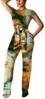 Ophestin Womens Sexy Two Piece Outfits Short Sleeve Rib Belted Crop Top Wide Leg Pants Set Party Jumpsuits: Clothing