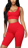 Women's Sexy Bodycon Sleeveless Tank Crop Top Shorts Pant Set Club 2 Piece Outfits Yoga Sports High Waist Tracksuit Set: Clothing
