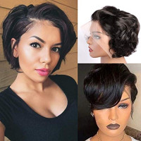 13x4 Pixie Cut Short Bob Lace front Wigs Human Hair,MSGEM Short Bob Wigs 6 inch Loose Wig150% Density Brazilian Virgin Human Hair with Pre Plucked Haircuts Natural Hairline: Beauty