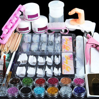 Coscelia Acrylic Powder Glitter Nail Art Kit False Nail Tips Nail Art Decoration Tools: Beauty