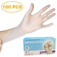 100 Pack Disposable Clear Vinyl Gloves, Latex Free - Medium: Industrial & Scientific