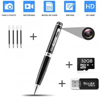 Hidden Pen Camera Spy Pen Camera HD 1080P Clip On Body Camera Mini Camera Pen 32GB SD Card with Included Wonderful Spy Gadgets for Business and Conference : Camera & Photo