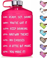 HydroMATE 1 Gallon Motivational Water Bottle with Time Marker Large BPA Free Jug with Handle Reusable Leak Proof Bottle Time Marked to Drink More Water Hydro MATE 128 oz (Gallon, Neon Pink) : Sports & Outdoors