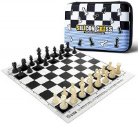 Silicon Chess Set Tournament Travel Portable Standard Board Games for All Ages with Secure Storage for Pieces Foldable Black Mat: Toys & Games