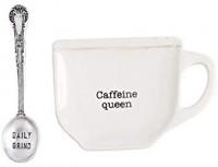Mud Pie Home Kitchen Circa Coffee Break Coffee Mug Spoon Rest Sets 42600445 (Caffeine Queen): Kitchen & Dining
