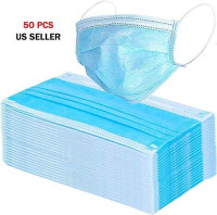 50 PCS Disposable Face Protection for General Use Triple Ply Pollution Health Dust Filter Face Protective PPE First Class Ship: Home Improvement