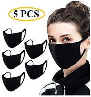 Hamorny STR 2-layer 100% Cotton Anti-dust Mouth Face_mask_Protect Cover Bandana Balaclavas, Unisex Reusable Fashion Washable Cover (Pack 5, Black): Beauty