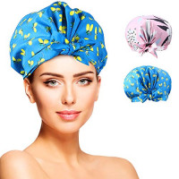 YISUN Shower Caps for Women - 2 PACK Double Layer Waterproof Bath Cap with Oxford Elastic Band, Reusable Shower Caps : Beauty