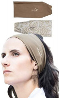 myMareCo Equestrian Headbands for Women, Sportswear for Under Horse-Riding Helmet, Wide Hair Band Suitable for Yoga, Biking, Hiking (2 Pack Brown Solid and Tan Pattern) : Clothing