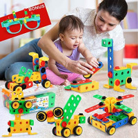 STEM Building Toys, Construction Engineering Building Blocks Learning Set for Improve Hand-eye Coordination Ability Bonus DIY Glasses Fun Educational Toy Games Perfect for Parent-child Interaction: Toys & Games