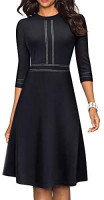 HOMEYEE Women's Chic Crew Neck 3/4 Sleeve Party Homecoming Aline Dress A135 at Women's Clothing store