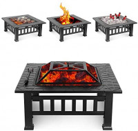 HEMBOR 32'' Outdoor Fire Pit Table, Multi-Purpose Square Fireplace, Backyard Patio Garden Outside Wood Burning Heater, BBQ, Ice Pit, with BBQ Frames&Waterproof Cover, Suitable for Party, Picnic, Camp : Garden & Outdoor