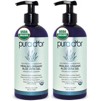PURA D'OR Organic Aloe Vera Gel Lavender Scent (2 Pack of 16oz) USDA Certified - Deeply Hydrating, Moisturizing Skin & Hair - Sunburn, Bug Bites, Rashes, Small Cuts, Eczema Relief (Packaging may vary) : Beauty