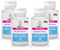 Hand Sanitizer Gel 70% Alcohol 8 Fl oz by TeliaOils No-wash, moisturizing formula (PACK OF 4) : Beauty