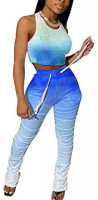 Women Summer Casual Two Piece Outfits Tie Dye Print Crop Top Shirt and Ruched Skinny Pant Tracksuit Set Loungewear Jumpsuit at Women's Clothing store