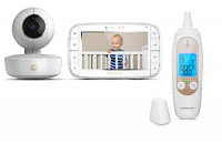 "[Exclusive] Motorola Baby Bundle - MBP36XL Video Baby Monitor with 5"" LCD Display Pan/Tilt/Zoom, Rechargeable Camera and MBP69SN Smart Ear Thermometer : Baby"