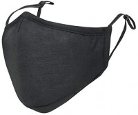 ililily Black Cotton Washable Nose Wired Face Cover Filter Pocket Wide Cover With Filter (Black)
