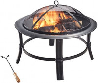 """Peaktop CU297 Round Steel Charcoal Wood Burning Fire Pit Bonfire with Spark Screen and Fireplace Poker for Outdoor Patio Garden Backyard Decking, 26.0"""", Black : Garden & Outdoor"""