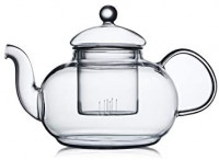 CnGlass Glass Teapot Stovetop Safe, Clear Teapot with Removable Infuser 20.3 oz, Loose Leaf and Blooming Tea Maker: Teapots