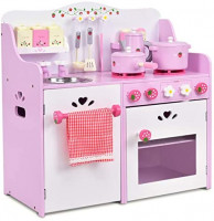 """Costzon Kids Kitchen Playset, Wooden Cookware Pretend Cooking Food Set Toddler Gift Toy (24.4"""" Height, Pink): Toys & Games"""