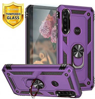 TJS Phone Case Compatible for Motorola Moto G Power (2020), with [Tempered Glass Screen Protector] Impact Resistant Metal Ring Magnetic Support Armor Heavy Duty Protector Cover (Purple): Electronics