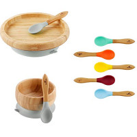 Rainbow Gift Set Gray - Baby Shower, Baby Registry, Home Set & More. Baby Girl, Baby Boy, Unisex. Baby Bowl Set + Classic Plate Set + Assorted Baby Spoons Set. BPA Free : Baby
