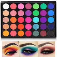 Eyeshadow Palette, 35 Bright Colors Matte Sweatproof and Shimmer Eyeshadow Make up Palettes Christmas Palette Blendable Pressed Powder Eye Shadow : Beauty