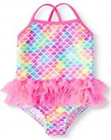 Wonder Nation Toddler Girls Pink Mermaid Tutu 1 Piece Swimsuit (2T): Clothing