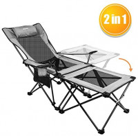 XGEAR 2 in 1 Folding Camping Chair Portable Lounge Chair with Detachable Table for Camping Fishing Beach and Picnics, Cool Grey: Kitchen & Dining