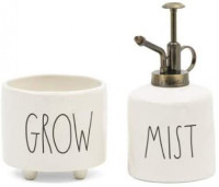 "Rae Dunn by Magenta Gift Set of""Mist"" in Large Letters LL Mister and""Grow"" in Large Letter Planter: Garden & Outdoor"