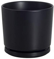 Ekirlin 9 inch Flower Plant Pot Indoor - Ceramic Garden Planter with Drain Hole Saucer, Modern Plants Containers for Home Decor, Office & Outdoor (Black): Garden & Outdoor